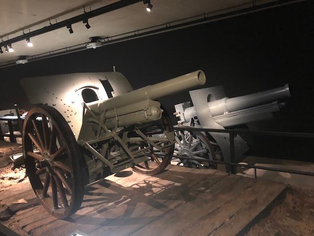 Canons exposés au Mémorial de Verdun