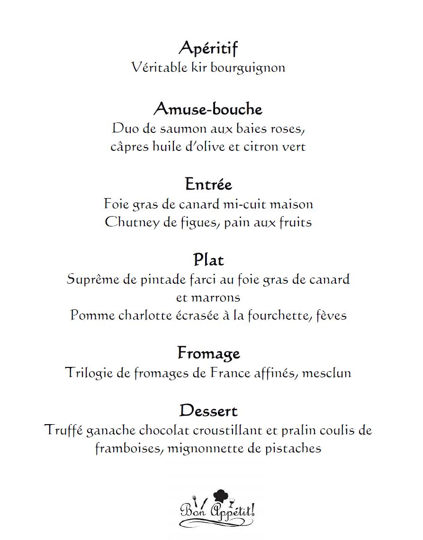 Le détail du menu