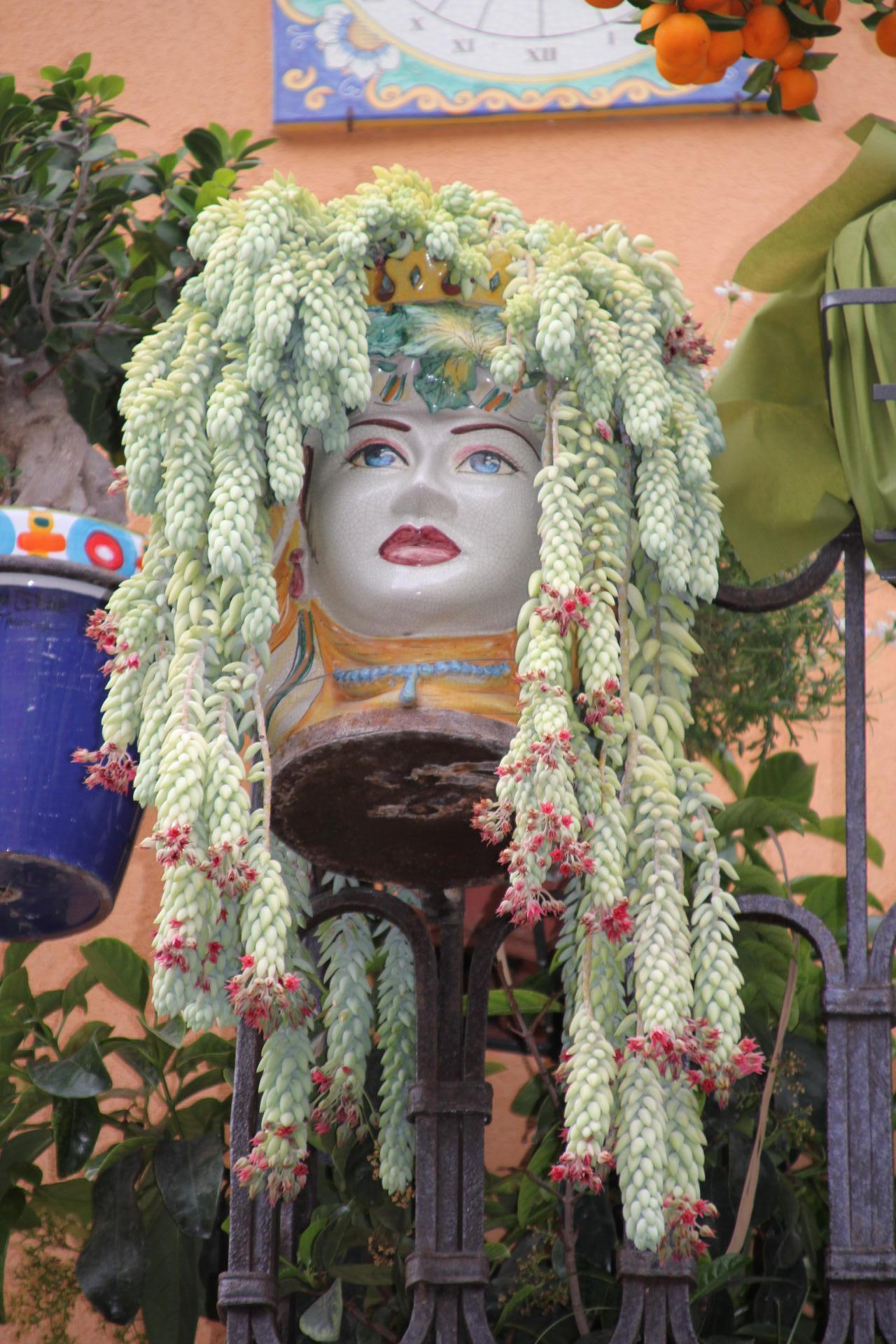 Méduse à fleurs dans une ruelle de Taormine