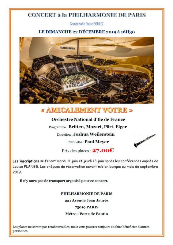 Concert a la philharmonie de paris 22 decembre 2020