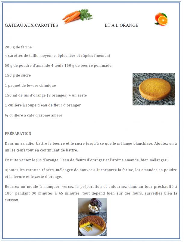 Gâteau orange carottes